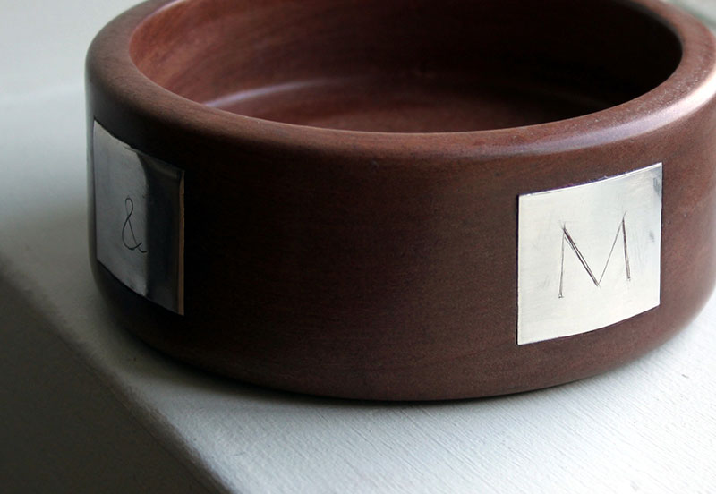 Walnut and silver bowl